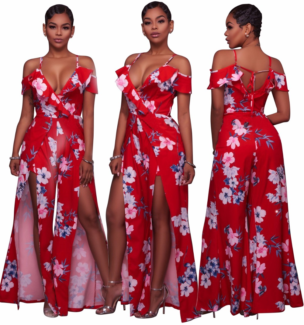 8061 2017 New fashion high quality casual jumpsuit sexy strapless print jumpsuit full length women jumpsuit