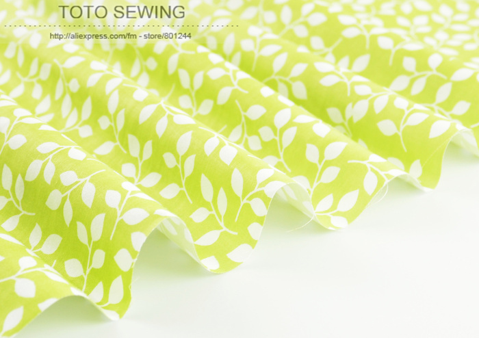 1 meter Cotton Fabric by Meter 160cmx100cm green good-looking Leaves Printed for Clothing Bedding Tilda Cloth quilting