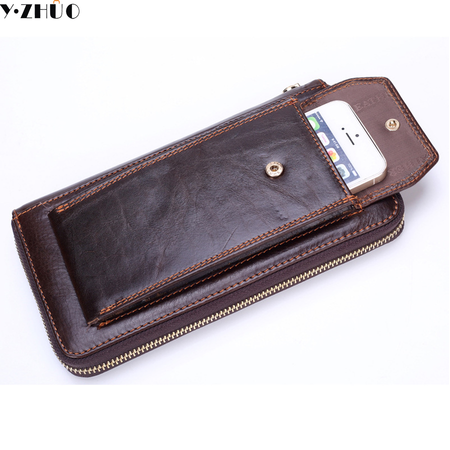 Long Men Wallets Genuine Leather Wallets Clutch Bag Phone Men&39;s Leather Wallet Male Purse Coin Pocket Wallet Card Holder